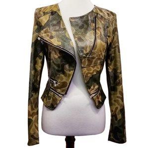 Jackets & Blazers - Camo Moto Jacket Fashionista Split Vegan Leather